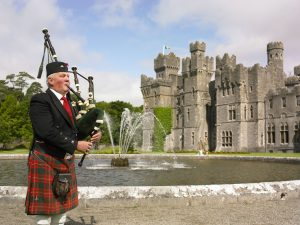 Bagpipe player at Ashford Castle in County Mayo.